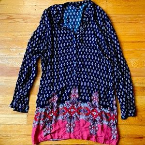 Forever 21 Hippy Button Down Tunic Dress (L)